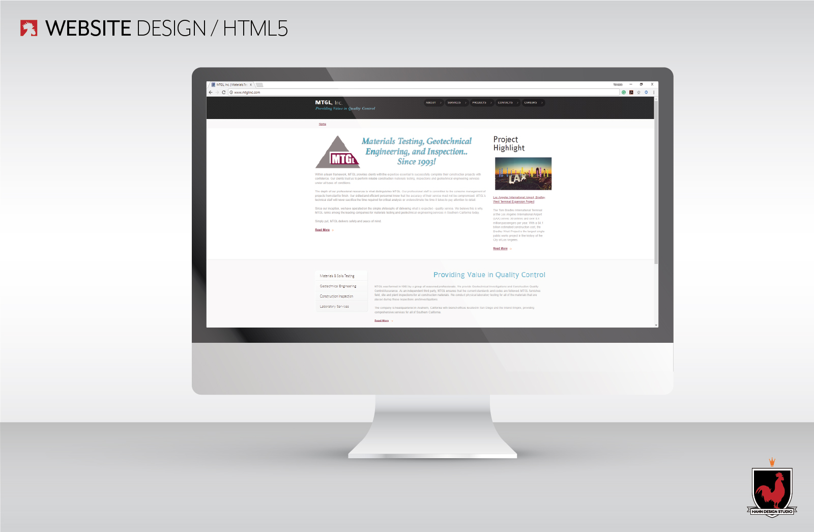 Website Design, HTML5 | MTGL, Inc., Hahn Design Studio, San Marcos, California