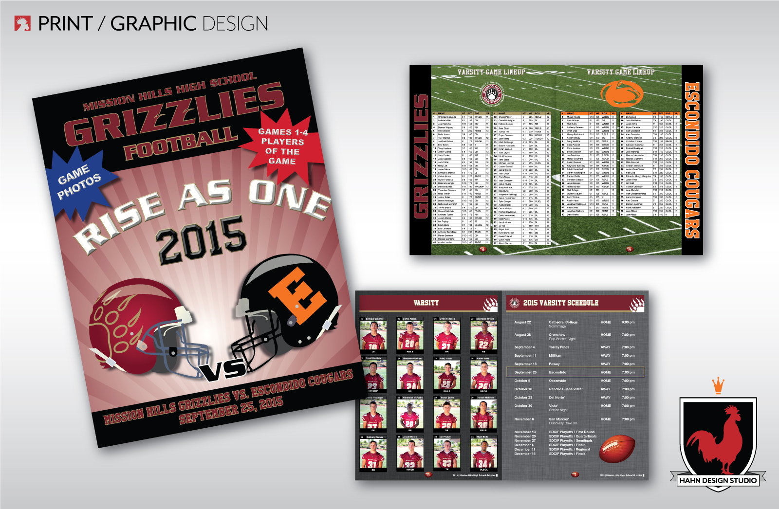 Print Design | Mission Hills Grizzly High School Football Programs