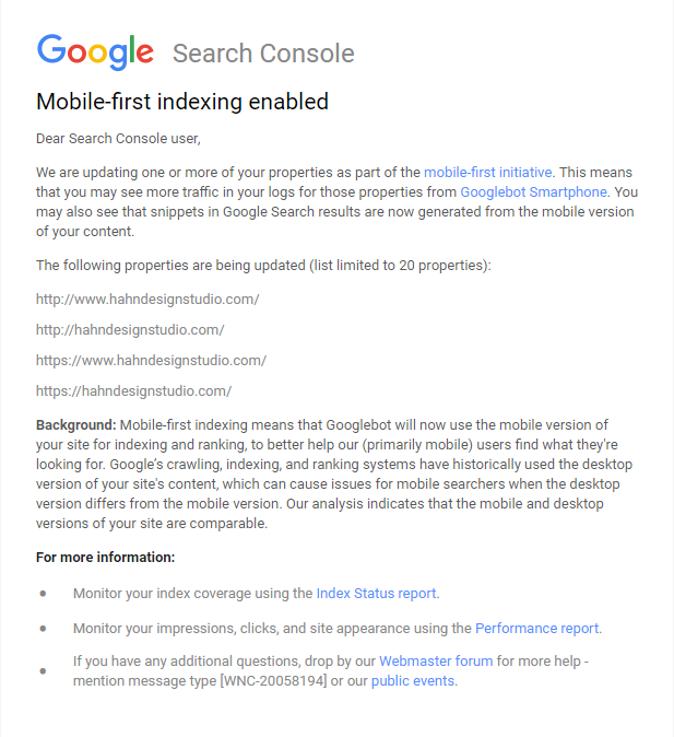 Google Search Engine Mobile-First indexing | Hahn Design Studio, San Marcos, California